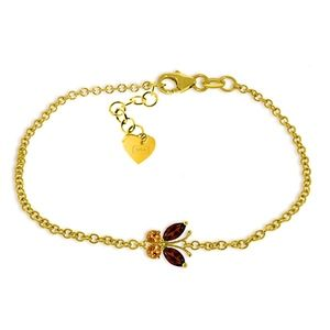 SOLID GOLD BUTTERFLY BRACELET WITH GARNETS & CITRI